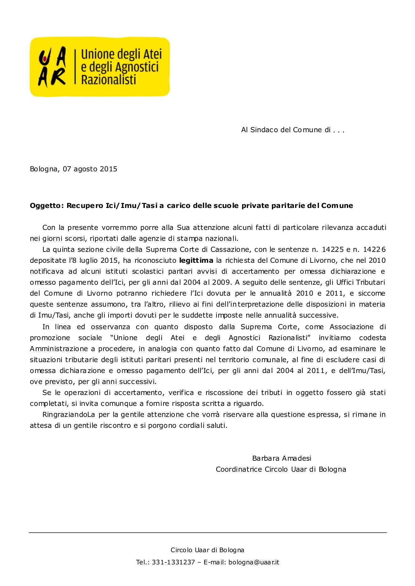 Recupero Ici/Imu/Tasi a carico delle scuole private paritarie del Comune