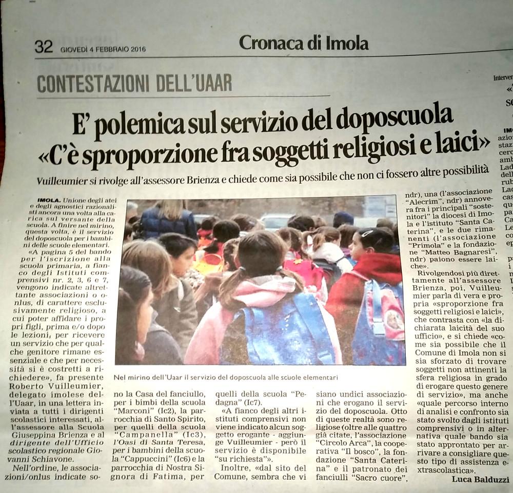 Corriere Imola 4.2.2016 - Doposcuola religioso