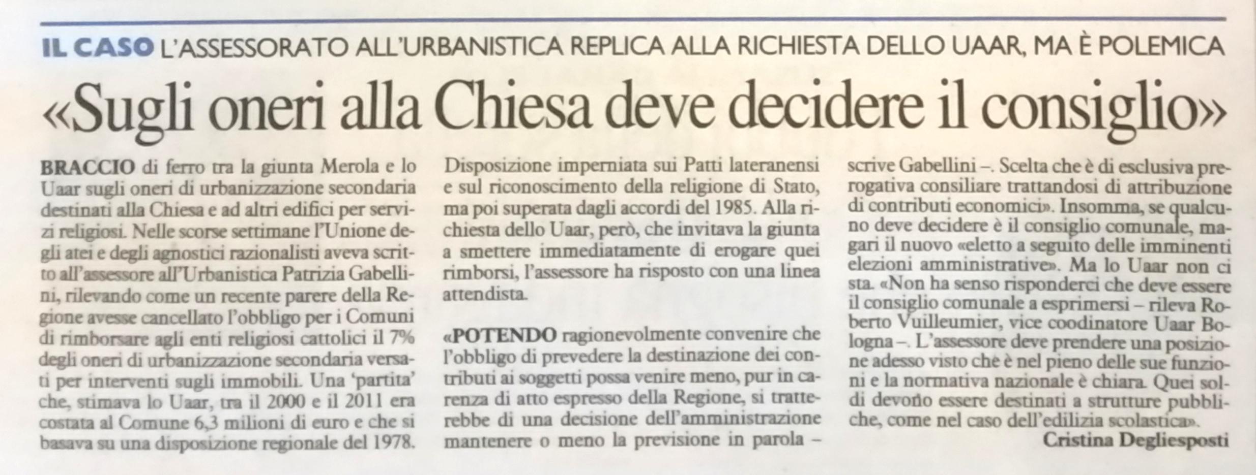 Articolo di Cristina Degli Esposti, Resto del Carlino 29.4.2016