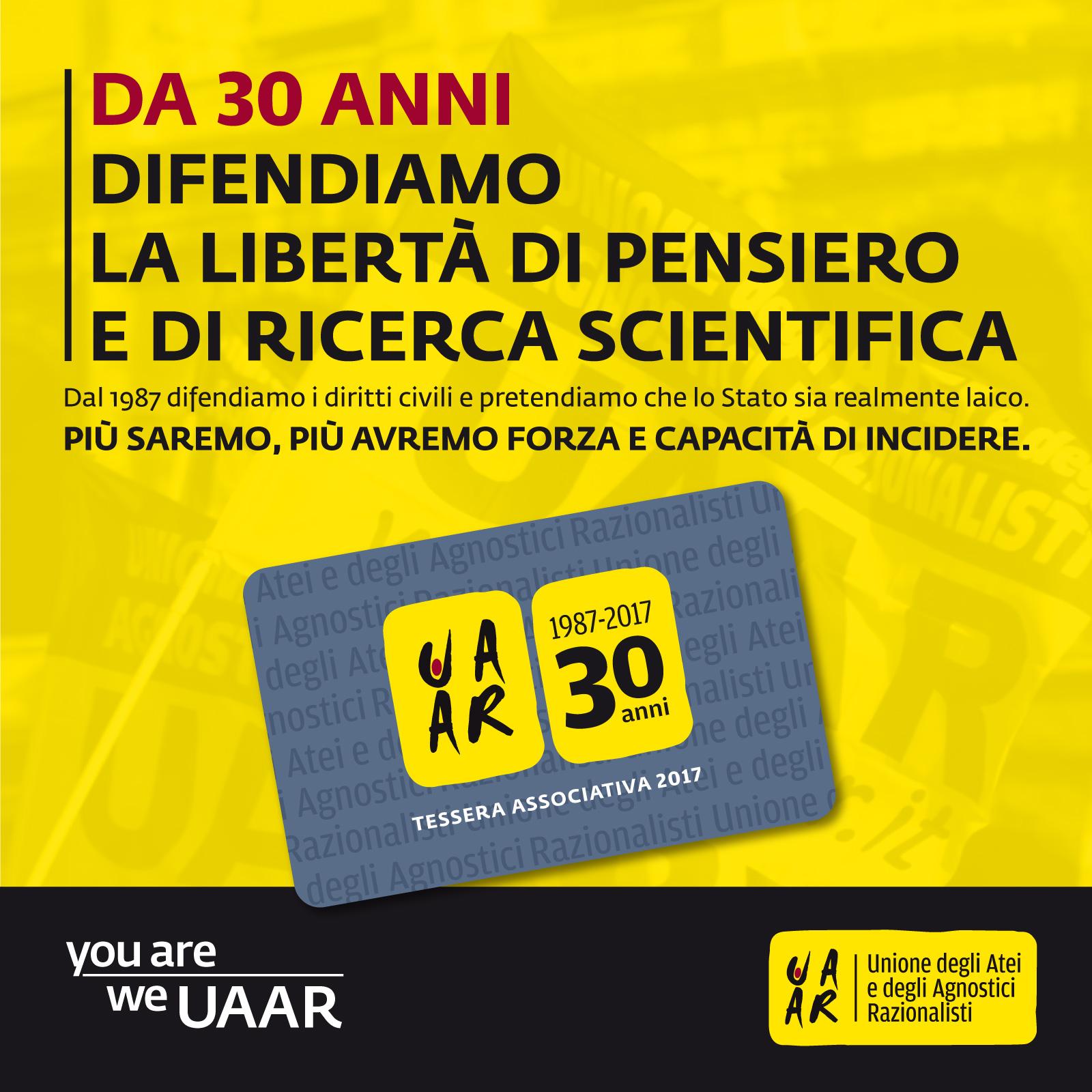 Campagna iscrizioni Uaar 2017