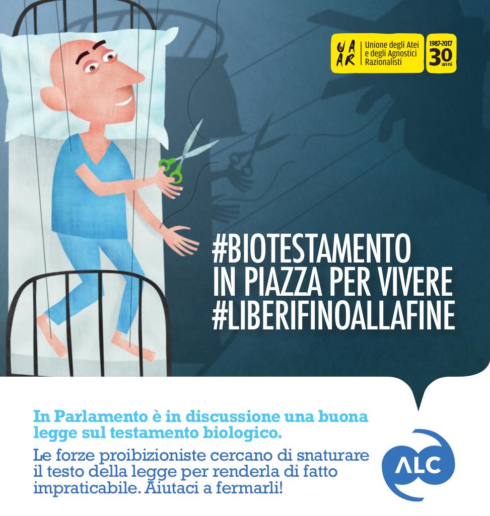#BiotestamentoInPiazza a Bologna, sabato 8 aprile 2017